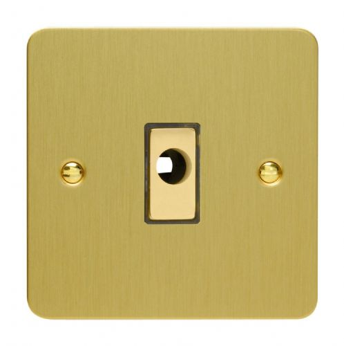 Varilight XFBFOD Ultraflat Brushed Brass 1 Gang 16A Flex Outlet Plate